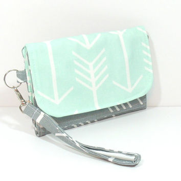 Cell Phone Wallet, Mint Phone Wallet, Gray Arrow Wallet, Mint Arrow Wallet, Wallet for Phone, Wallet with Zipper, Clutch Wallet, Card Wallet