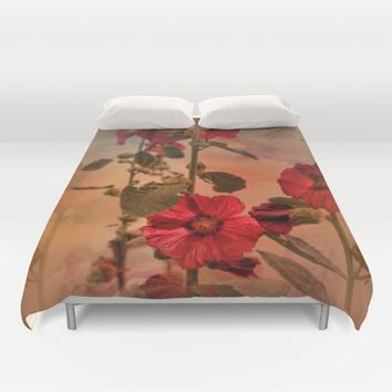 Mid-Summer Hollyhocks Duvet Cover by Theresa Campbell D'August Art