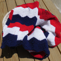 Patriotic Ripple Crochet Baby Blanket, Red, White and Blue Baby Blanket, Patriotic Chevron, Red White and Blue Stripes