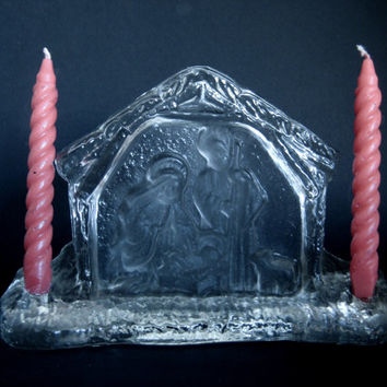 Vintage L E SMITH Crystal Nativity Scene Double Candle Holder USA Christmas Home Decoration
