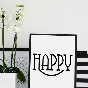 "Inspirational Quotes ""happy""  Affiche Scandinave Scandinavian Design PRINTABLE Fashion Illustration, Scandinavian Art , Fashion Print art"