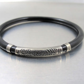 Chinese Sterling Black Coral Bracelet, Asian Coral Jewelry, Vintage Art Deco Jewelry, Men Women Unisex Sterling Silver Black Coral Bangle