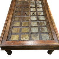 Antique Coffee TABLE INDIAN Furniture Handmade Wood Carving - Mughal Indian Style Table Vintage Patinas
