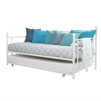 Twin White Metal Daybed Frame with Roll-Out Turndle Bed