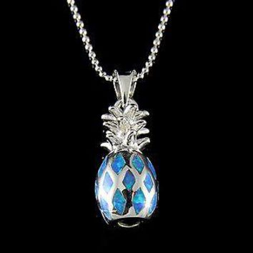 INLAY OPAL HAWAIIAN PINEAPPLE STERLING SILVER 925 CHARM PENDANT
