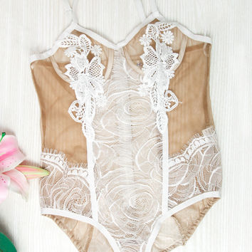 Bell Pot Bodysuit - White