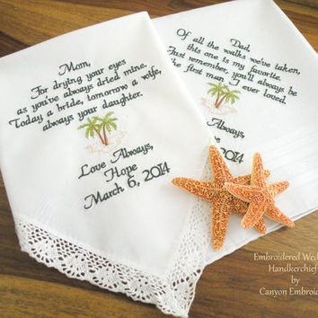 Mom & Dad, Wedding Gift, Monogram, Embroidered, Wedding Handkerchief, Momentous Mom and Dad Wedding Gift Palmtree Beach by Canyon Embroidery