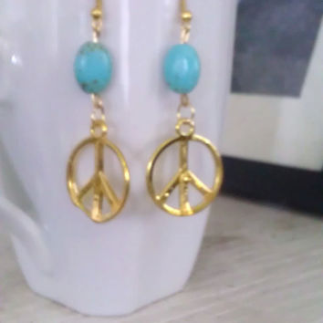 Boho Hippie Peace Sign and Turquoise Earrings