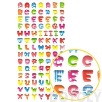 Rainbow Colored Alphabet ABCs Shaped Puffy Fancy Typography Stickers for Scrapbooking and Decorating