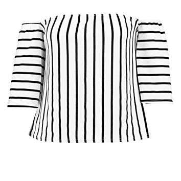 Boohoo Womens Plus Size Kate Off The Shoulder Stripe Top