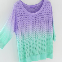 Fanewant — GRADIENT KNITWEAR COLORFUL 3/4 sleeve blouse
