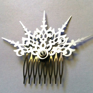 Argent Fractals Hair Comb Steampunk Accessory