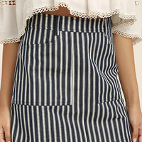 Derby Darling Navy Blue Striped Mini Skirt