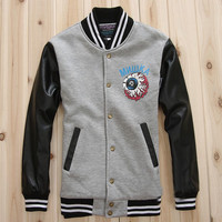 64% off MNWKA Men's Black Leather Sleeve Cotton Varsity Baseball Jacket for sale at VarsityJacketsOutlet.org with free shipping & fast delivery!