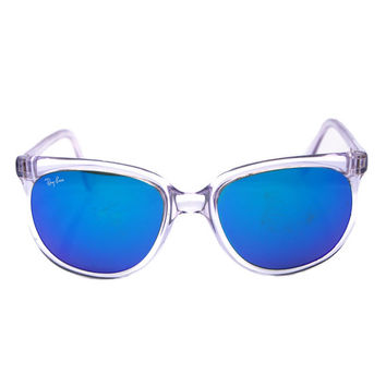 vintage ray ban bausch and lomb  vintage ray ban bausch and lomb cats 1000 blue mirror clear frame sunglasses