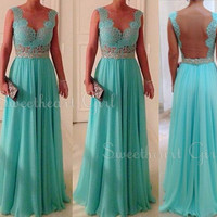 Amazing chiffon Lace Rhinestone Floor-Length Prom Dress, Evening Dress from Sweetheart Girl