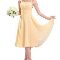 Sunvary 2013 Summer Spaghetti Strap Chiffon Cocktail Party Dresses Bridesmaid Dresses (8, Yellow)