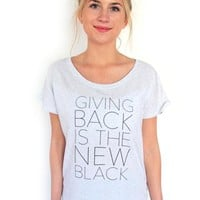 Giving Back Dolman T-Shirt // Heather White