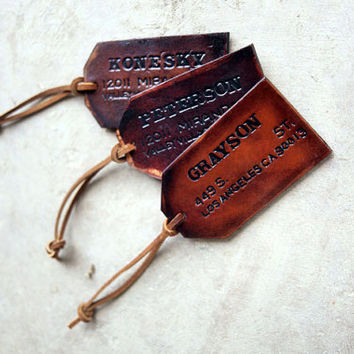 Genuine Leather Custom Luggage Tags - Your Choice of Stain and Lace Color - Bridal Party Wedding Gifts / Custom Fathers Day Gift