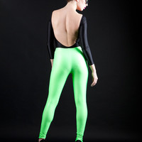 Neon Green Wet Look Super High Waisted Liquid Leggings