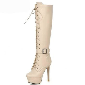 Leather Knee High Boots - Platform Boots