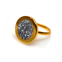 Gold Forever Lux Ring (black druzy inlay)