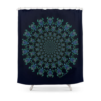 Society6 Tribal Turtle Tunnel Shower Curtains