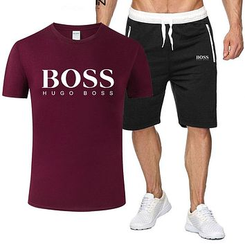 BOSS Summer Fashion New Letter Print Sports Leisure Top And Shorts Two Piece Suit Men Burgundy
