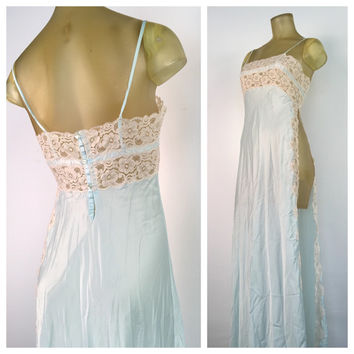 Long Blue Lingerie Sexy Lace Nightgown Full Length Slip Vintage Lingerie High Side Slit Adjustable Straps Floor Length Nightie Light Blue S