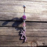 Browning Deer Head Pink Belly Ring Body Jewelry