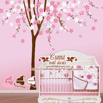 cherry blossom wall decal tree wall decals flower vinyl wall decals birdcage wall mural nursery wall decal nature- flower tree Z211 cuma