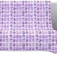 "Kess InHouse Marianna Tankelevich ""Cute Birds Purple"" Fleece Throw Blanket, 90 by 90-Inch, Pink Lavender"