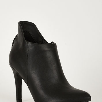 Faux Leather Cut Out Ankle Boots