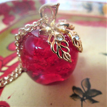 AVON Red Apple Necklace Gold Chain Glass Pendant Rhinestone Vintage Jewelry Gift Teacher Birthday