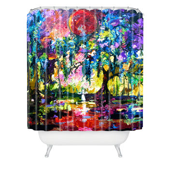 Ginette Fine Art Crimson Moon In Savannah Shower Curtain