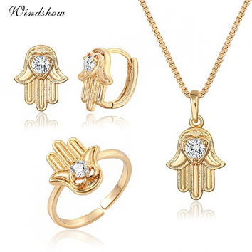Bijoux  Gold Plated Cute Hamsa Hand Pendant CZ Necklace Earrings Adjustable Heart Ring For Women Girls Gifts Jewelry Set