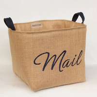 MAIL Hessian Burlap Padded Storage Basket Bin Bucket - Machine Embroidered - Eco Rustic Jute Storage - UK - Toys, Post, Papers, Office