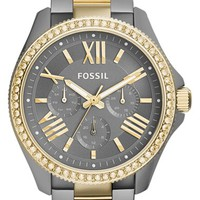 Women's Fossil 'Cecile' Crystal Bezel Multifunction Bracelet Watch, 40mm - Gunmetal/ Gold