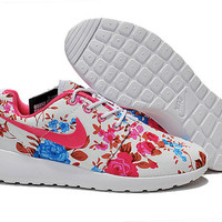 brand new 4f111 87544 custom nike free roshe run sneakers athletic women shoes with print fabric  flowers,crystal swarovski