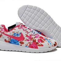 custom nike free roshe run sneakers athletic women shoes with print fabric flowers,crystal swarovski or both