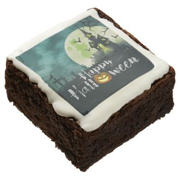 Spooky Haunted House Costume Night Sky Halloween Chocolate Brownie