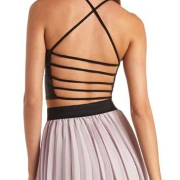 Strappy Backless Faux Leather Crop Top by Charlotte Russe - Black