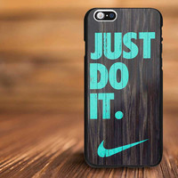 Mint chevron nike  on dark wood For iPhone 4/s, 5/s, 5c,6, 6+ and Samsung S3, S4, S5 Case Plastic or Rubber