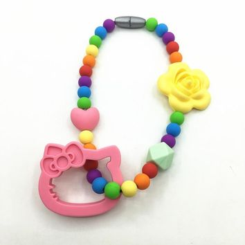 silicone teething pendant toys With rainbow Beads necklace Baby Carrier Teether Toy-silicone hello kitty Toy necklace