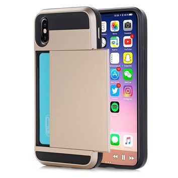 Back Case for iPhone X Slim Dual Layer Wallet Design w/Card Slot Phone Cases for iPhone X(2017) Protect Shockproof Cover Shell