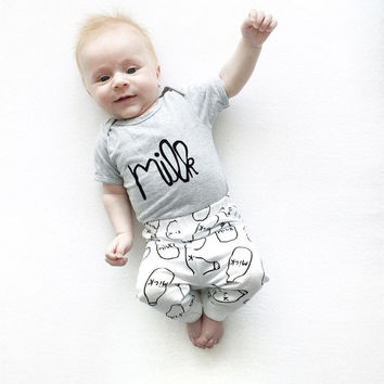 Summer 2016 new  baby Romper baby boy clothes cotton short-sleeved T-shirt+pants infant 2pcs newborn baby girl clothing