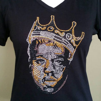 Biggie Smalls/Notorious BIG Crowned in Gold rhinestone T-shirt