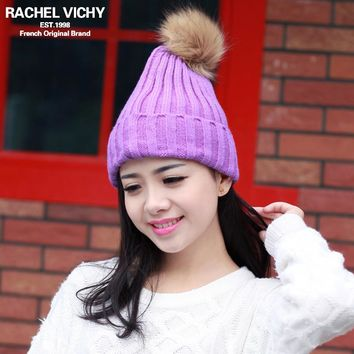 New Arrival Faux Fur Pom Pom Ball Hat For Women Crochet Acrylic Lovely Young Girl's Cap Female Winter Warm Knitted Hats Beanies
