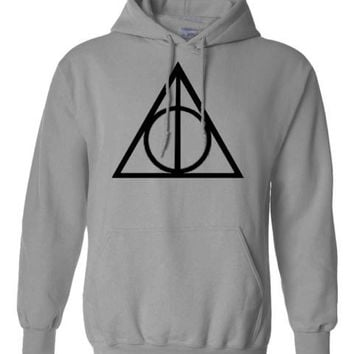 Harry Potter Triangle INSPIRED Deathly hallow PRINTED TOP HOODIE PULLOVER JUMPER - GREY