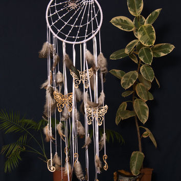 Dream catcher, Dreamcatcher, Wedding decor, Wall hanging, Bedroom decor, Mobile, Feathers, Beads, Bohemian, Boho, House decor, Nursery decor